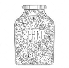 Spring zentangle coloring page