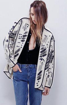 Free People Romantics Inkwell Dolman Embroidered Jacket