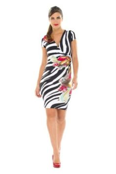 03b50190709f3 The Olian Short Striped/Orchid Sleeve V-Neck Maternity Dress is a wonderful  spring and summer maternity option! It features a V-neck, a faux wrap, ...