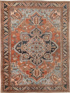 View this beautiful Antique Heriz Serapi Persian Rug 46282 from Nazmiyal's fine antique rugs and decorative carpet collection. Plywood Furniture, Persian Blue, Trellis Rug, Carpet Colors, Tribal Rug, Persian Carpet, Rugs On Carpet, Hall Carpet, Scrappy Quilts