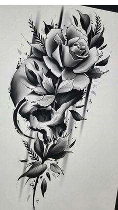 Tattoo Designs Skull Art Ink Trendige Ideen for men on chest hombre ideas for guys ideas for men for men Skull Tattoo Flowers, Skull Rose Tattoos, Black Rose Tattoos, Flower Tattoo Designs, Flower Tattoos, Body Art Tattoos, Sleeve Tattoos, Angel Tattoo Designs, Tattoo Sleeve Designs