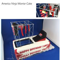 Ninja warrior cake complete with lego luke on the salmon ladder