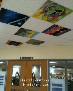 Painted ceiling tiles School Wall Decoration, Art Classroom Decor, School Decorations, Ceiling Tiles Painted, Fabric Ceiling, Susa, Learn Art, Middle School Art, Art Plastique
