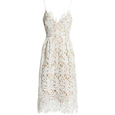 Sans Souci Floral lace midi dress ($59) ❤ liked on Polyvore featuring dresses, white, white pleated dress, a line dress, a line midi dress, white floral dress and floral lace dress