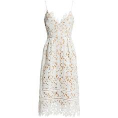 Sans Souci Floral lace midi dress (€52) ❤ liked on Polyvore featuring dresses, white, midi dress, white dress, floral midi dress, a line dress and pleated dress