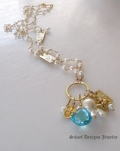 Large Swiss Blue Topaz & White Freshwater Pearl 24kt Gold Vermeil Amulet Necklace | Schaef Designs artisan handcrafted gemstone & pearl Jewelry | upscale online jewelry gallery boutique | New Mexico