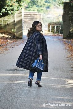 MFashion With Love: Blue collarless Navabi coat || Curvy || Plus size || Outfit