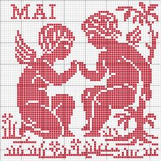 "Photo from album ""Календарь"" on Yandex. Filet Crochet Charts, Crochet Cross, Crochet Motif, Crochet Doilies, Loom Patterns, Embroidery Patterns, Cross Stitch Patterns, Cross Stitch Angels, Cross Stitch Flowers"
