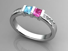 Mothers rings   Christopher Michael Designed Two Birthstone Mothers Ring