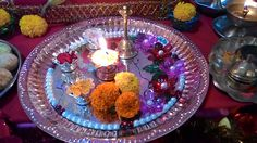 Glass Pooja thali with copper base thali