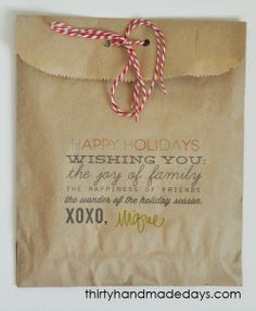 Thirty Handmade Days: Pin of the Day: Print on paper bags