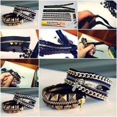 DIY bracelet fermeture éclair chaîne                                                                                                                                                     Plus