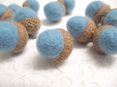 Hey, I found this really awesome Etsy listing at https://www.etsy.com/listing/206282145/dozen-blue-wool-acorn-thanksgiving