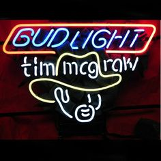 Bud Tim Mcgraw Beer Bar Neon Sign///How I love you neon signs , Real nice for my Home Bar Deco