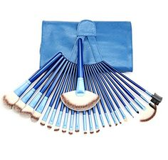 Afoxsos Women's 24 Pieces Brushes Eye Face Makeup Cosmetics Makeup Brush Sets Kits With Bag Blue ** Check this awesome product by going to the link at the image.