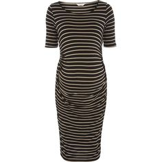 Dorothy Perkins Maternity Oatmeal Ruched Bodycon Dress ($34) ❤ liked on Polyvore featuring maternity and oatmeal