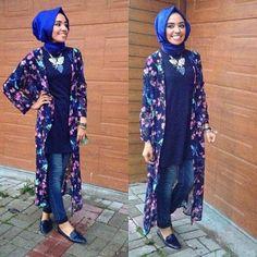 floral kimono cardigan hijab style,  Hulya Aslan hijab fashion looks http://www.justtrendygirls.com/hulya-aslan-hijab-fashion-looks/
