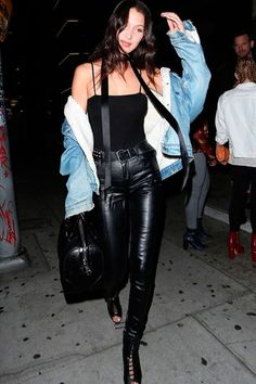 bella hadid all black denim jacket street style