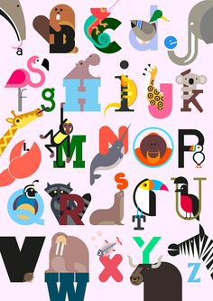 Full print - Build Animal A-Z Alphabet print in Pink