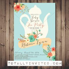 Tea Party Baby Shower Invite / bridal brunch by TotallyInvited