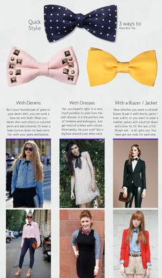 Women and bow ties go extremely well together. Yes, they are awesome for both the genders. If you are already wearing them, this might give you some new ideas a | See more about Bow Ties, Ties and Bows.