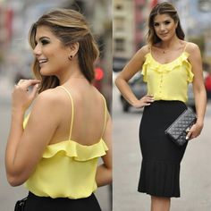 Yellow top and black skirt Blouse Styles, Blouse Designs, Moda Do Momento, Trendy Fashion, Fashion Outfits, Yellow Top, Skirt Outfits, Corsage, Maternity Fashion