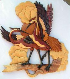 FLAMINGO MATES PEACOCK BIRD ANIMAL INTARSIA WOOD PICTURE WALL HANGING HOME DECOR