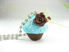 Cupcake Necklace Mini Blue and Chocolate Rose