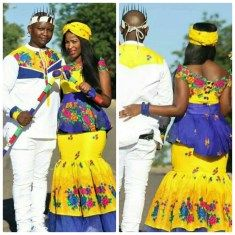Bride and Her Maids In Tsonga Traditional Wedding Attire | Clipkulture | Clipkulture Zulu Traditional Wedding Dresses, Tsonga Traditional Dresses, African Traditional Wear, Traditional Wedding Attire, Wedding Dresses South Africa, African Wedding Attire, African Attire, African Print Fashion, African Fashion Dresses