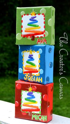 4x4 Rainbow Tree Personalized Christmas Canvas Ornaments, Choose your color on Etsy, $20.00