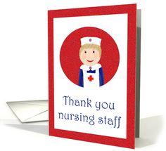 Thank you Nursing staff, nurse in uniform. card (821217)