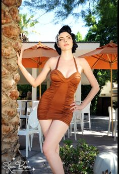 Old Hollywood Swimsuit in Bronzed Copper