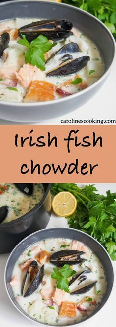 Irish fish chowder is a delicious mix of smoked and fresh fish in a light, gently creamy broth. Full of flavor, easy to make and perfect for lunch. #soup #fishchowder