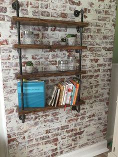 Home DIY German Smear brick wall with industrial pipe shelving Brick Wall Bedroom, Brick Wall Decor, Brick Tile Wall, Faux Brick Backsplash, Brick Wall Kitchen, Painted Brick Walls, Faux Brick Walls, White Brick Walls, Faux Brick Wall Panels
