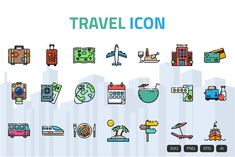 All Icon, Icon Set, Travel Icon, Home Icon, Icon Collection, Building A Website, Outline, Vibrant Colors, Clip Art