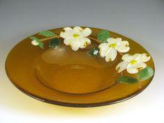 fused glass bird bath bowls | 13 in. Bowl with Dogwood Flowers