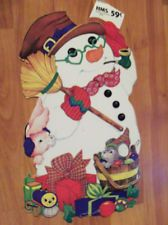"Vintage Christmas Diecut Cutout Snowman with Friends 13"""