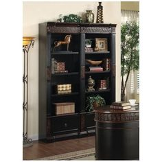 Nicholas Bookcase in Two Tone Finish by Coaster Furniture by Coaster Home Furnishings. $981.92. Nicolas Collection. Home Office Furniture. Library Wall. Two Tone Bookcase. Large Bookcase. This elegant traditional bookcase unit will add stylish storage to your home office. The large bookcase features rich details, including intricately carved floral trim, fluted molding, and a classic molding plinth base. The two tone finish blends rich dark wood with a warm medium dark color for...