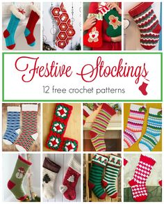 12 Beautiful Crochet Stockings 12 Beautiful Crochet Stockings Handmade stockings are a lovely and homey touch to your holiday decor. They are a great smaller project too for a bu. Crochet Christmas Stocking Pattern, Crochet Stocking, Holiday Crochet, Christmas Patterns, Free Crochet, Knit Crochet, Beginner Crochet, Crochet Round, Crochet Toys