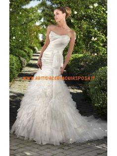 modesto sirena increspato abito da sposa in raso organza in vendita 2013