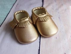 Baby Moccasins Gold  Baby Moccs Leather Baby Shoes by SewPearl