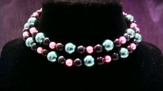 Pink and Blue Glass Pearl Necklace