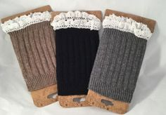 Knit Boot Cuffs with Lace Trim Choose Gray, Taupe or Black