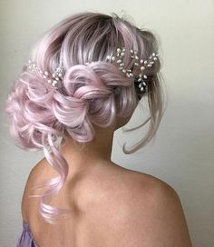 102 Beautiful Wedding Hairstyles And Bridal Hair Ideas Wedding Hair Colors, Wavy Wedding Hair, Braided Hairstyles For Wedding, Pretty Hairstyles, Short Bridal Hairstyles, Updo Hairstyle, Wedding Updo, Ombre Hair Color, Cool Hair Color