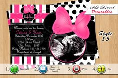 Minnie Mouse Baby Shower Invitation, Minnie Mouse Baby Shower Pink Printables-YOU PRINT on Etsy, $10.99