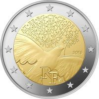 euro: 70 Years of United Nations.Country France Mintage year: 2015 Face value: 2 euro Diameter: mm Weight: g Alloy: Bimetal: CuNi, nordic gold Quality: Proof, BU, UNC Mintage: 4 mil. Euro Währung, France Euro, World Aids Day, Euro Coins, Valuable Coins, Coin Art, Commemorative Coins, Proof Coins, Challenge Coins