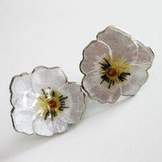 Vintage Sterling Enamel Pansy Earrings