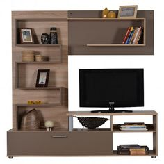 FY 11001474 ΕΠΙΠΛΟ TV INTERO  Sonoma/ Latte Tv Furniture, Latte, Bookcase, Flat Screen, Shelves, Home Decor, Shelving, Shelving Racks, Bookshelves