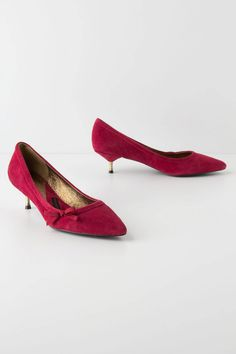 Brass-Tipped Kitten Heels - RED ,red  adorably bright