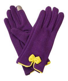 Look at this #zulilyfind! Purple & Yellow Bow Gloves #zulilyfinds